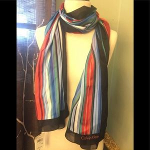 Calvin Klein Multicolor Shadow Striped Scarf Red